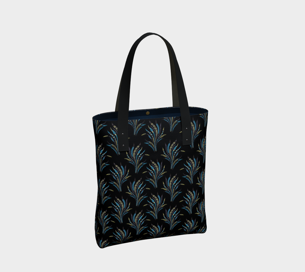 Alexandria premium tote bag  with a vintage leaf pattern on black background