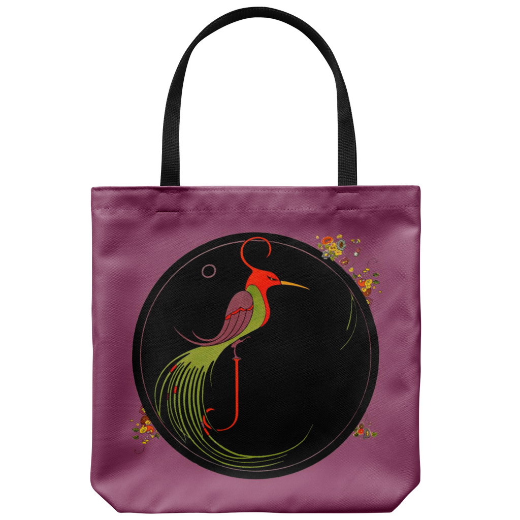 Tote bag with exotic stylized bird graphic from the 1920s