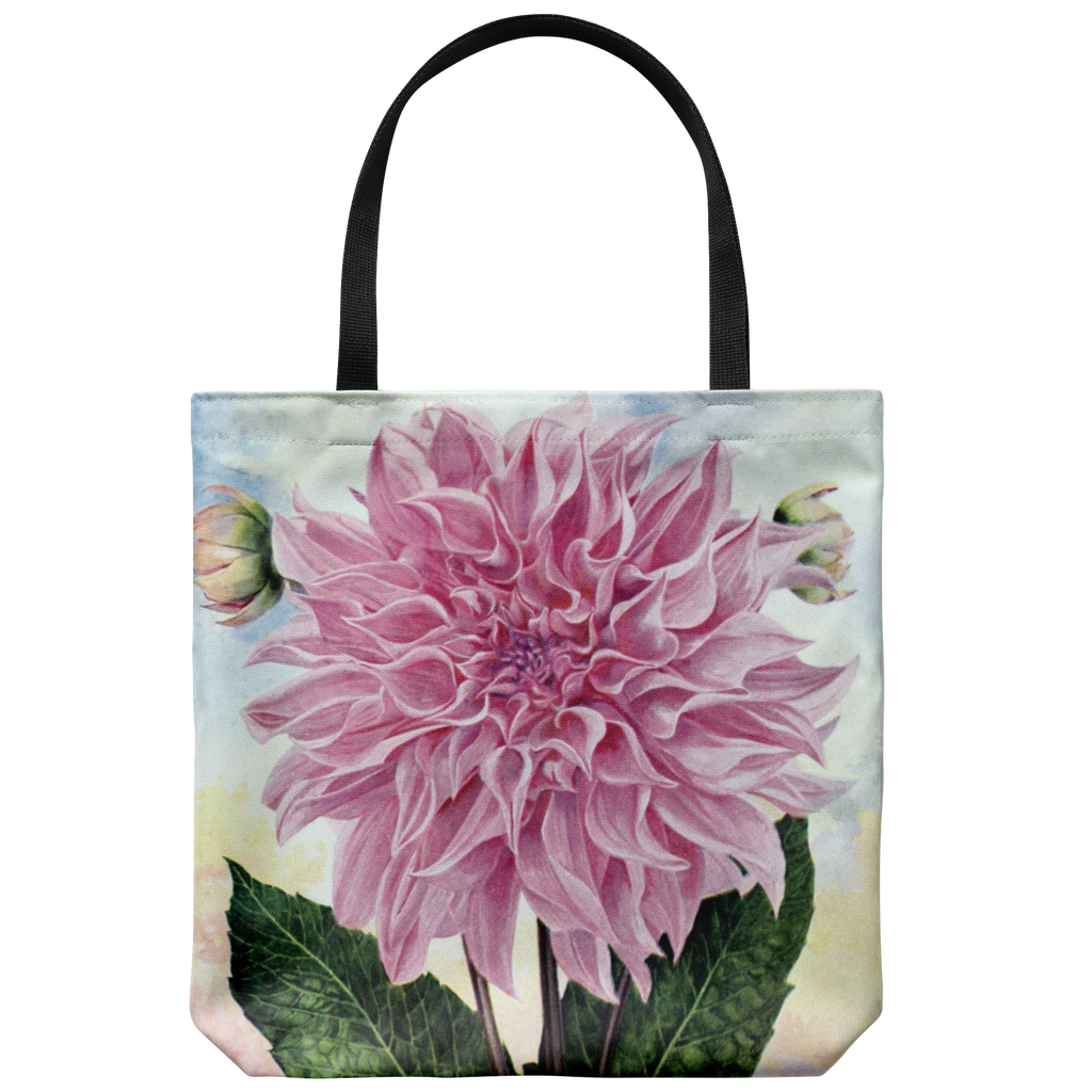 Tote bags with beautiful vintage dahlia flowers: 3 different pictures available