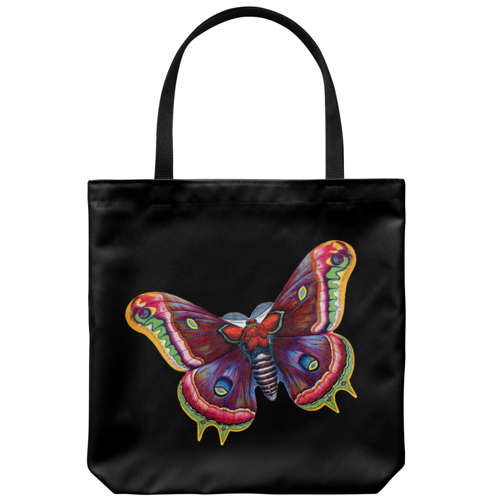 Tote bag with beautiful & colorful antique butterfly graphic from the 1890s
