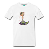 Peacock woman on a premium unisex T-shirt - white