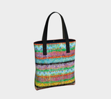 Emilia lined tote/purse with retro '60s-inspired multicolored pastel watercolor pattern