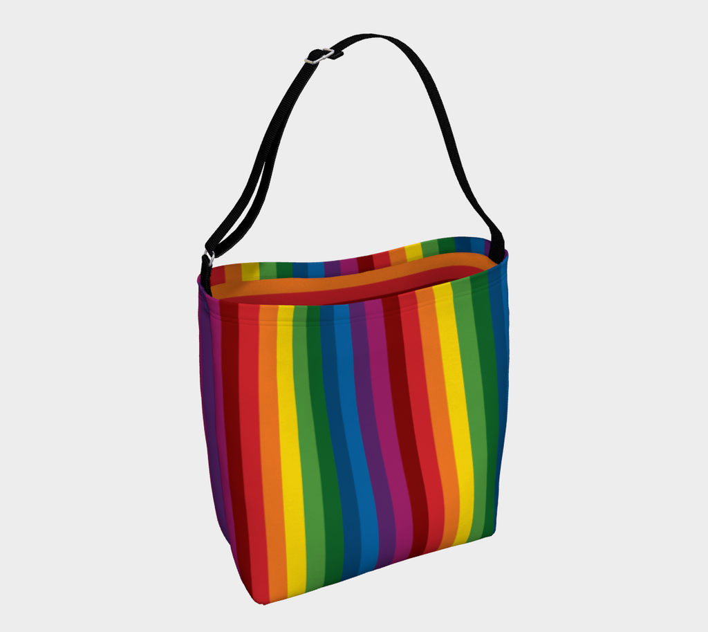 RetroRainbow roomy neoprene day tote bag  with bold multicolored vintage-inspired stripe pattern - Vertical exterior, horizontal interior