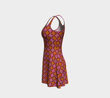 Diamondflower flare dress: Vintage flower pattern in orange & pink
