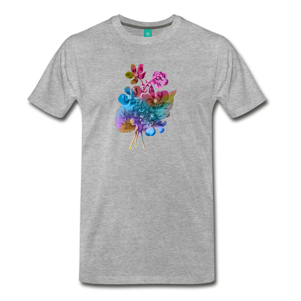 Flowers from 1854 - Recolored botanical print on unisex premium on a T-shirt - heather gray