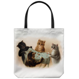 Tote bag with cute cats playing tiddlywinks: Vintage art from the Victorian age