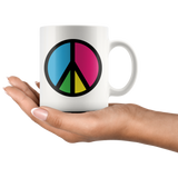 Retro bright peace sign mugs
