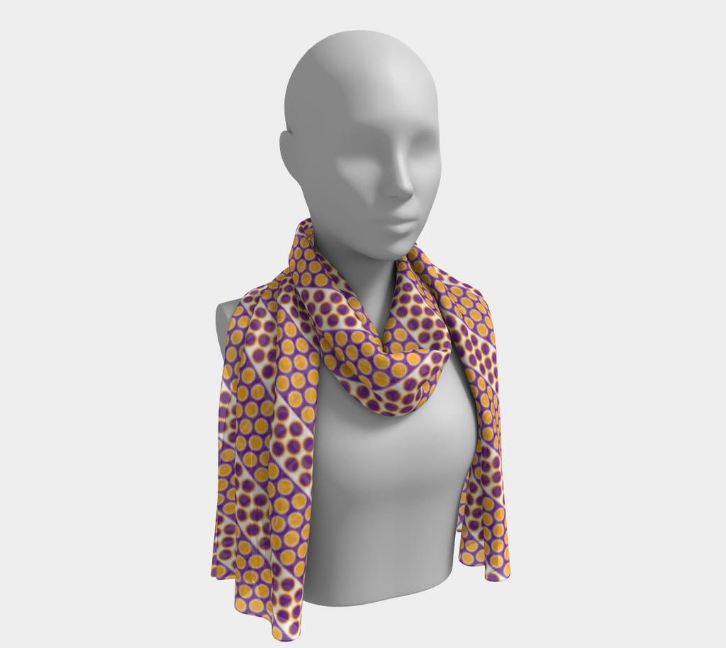 Margaux French dots pattern long scarf in orange & purple