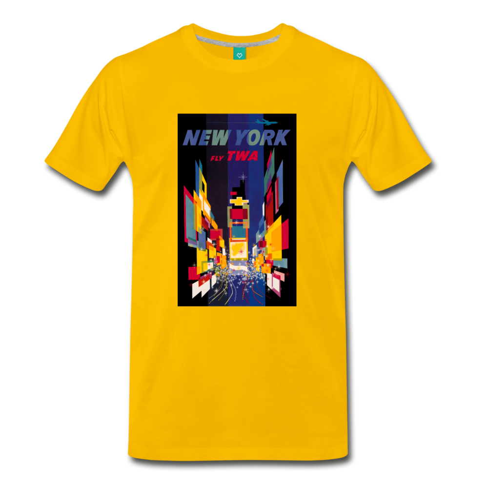 Times Square in New York City - Abstract vintage art on a on a premium unisex T-shirt - sun yellow
