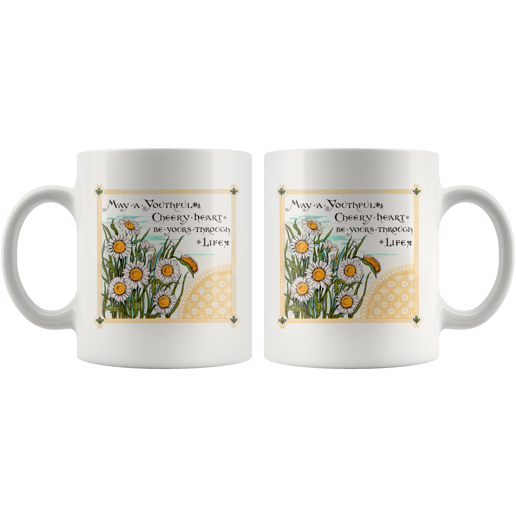 Mugs with two different vintage Victorian greetings: Cheery heart & happiness