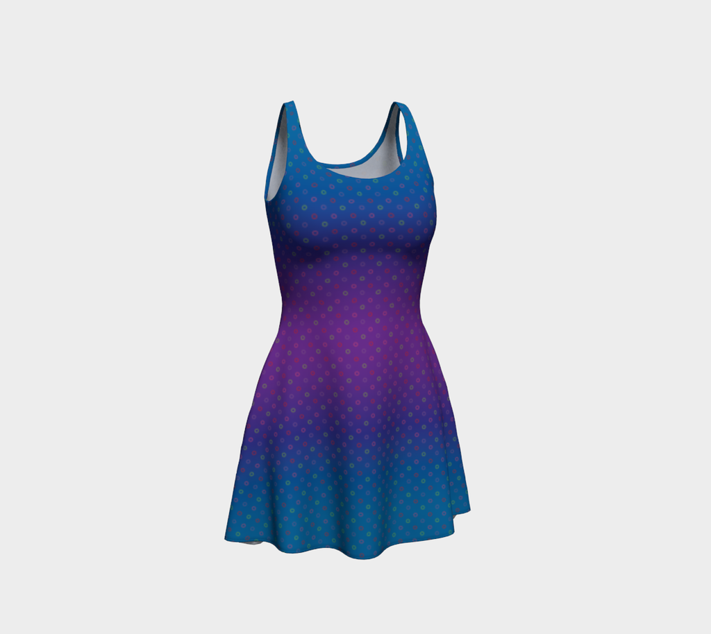 Hollowdot flare dress on cool - Blue/purple gradient
