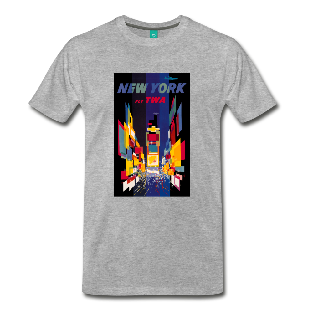 Times Square in New York City - Abstract vintage art on a on a premium unisex T-shirt - heather gray