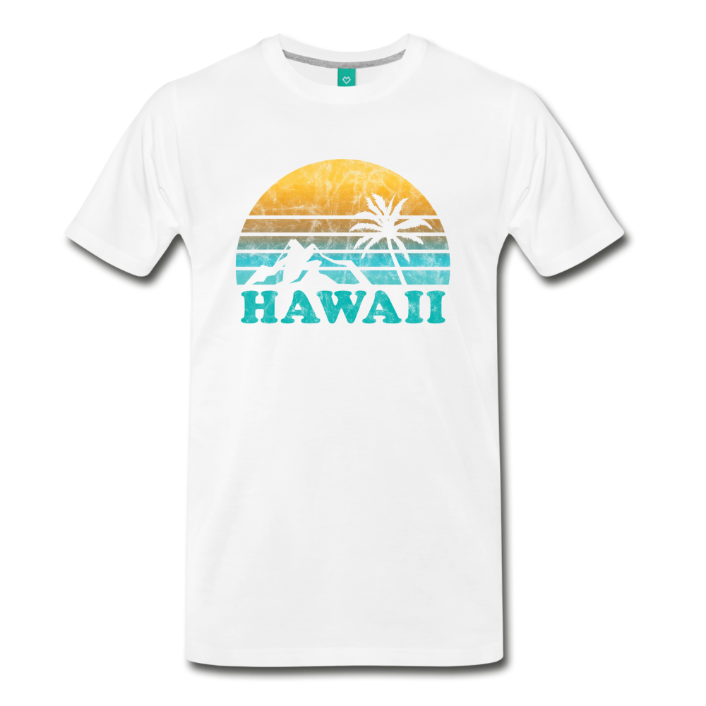 HAWAII state T-shirt: Vintage-style distressed graphic on a premium unisex shirt - white