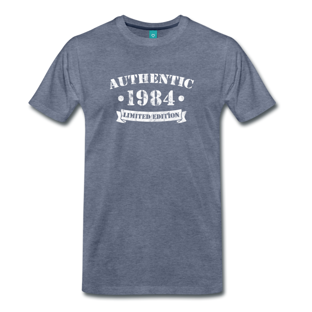 on a premium unisex T-shirt - heather blue