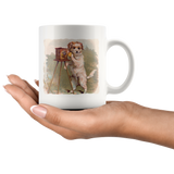Cats & dogs with cameras! Mugs with cute Victorian-era art starring pets