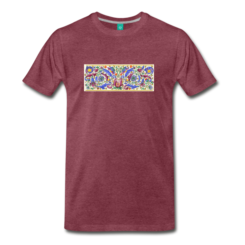 Ancient illuminated art - on a premium unisex T-shirt - heather burgundy