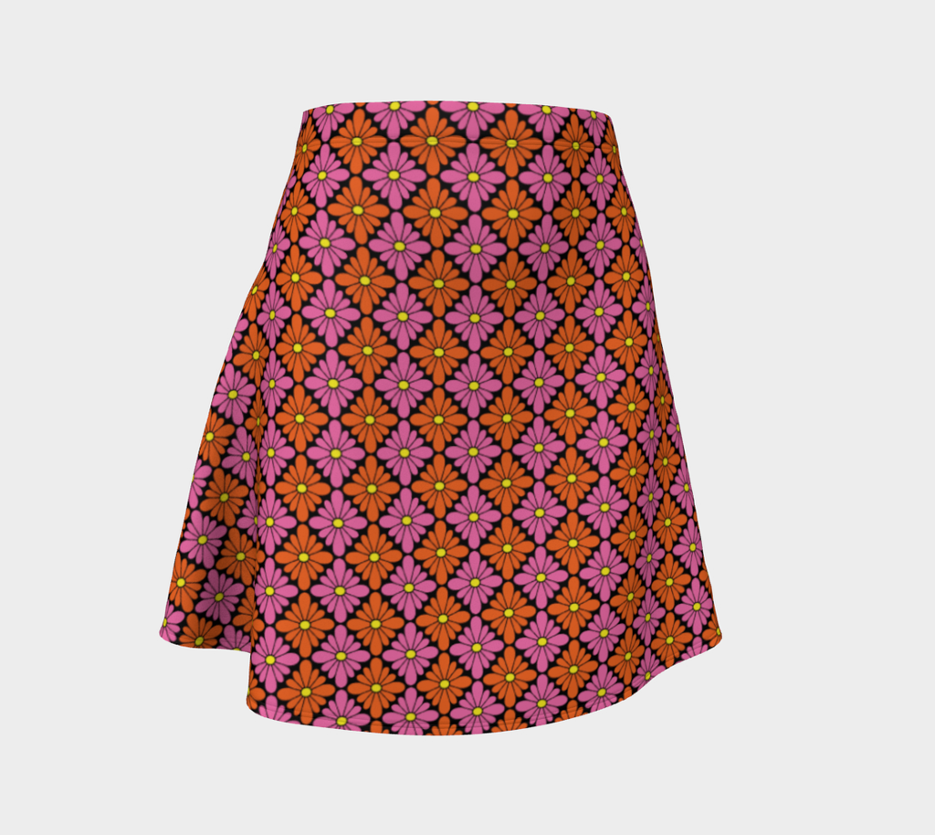 Diamondflower flare skirt: Vintage flower pattern in orange & pink