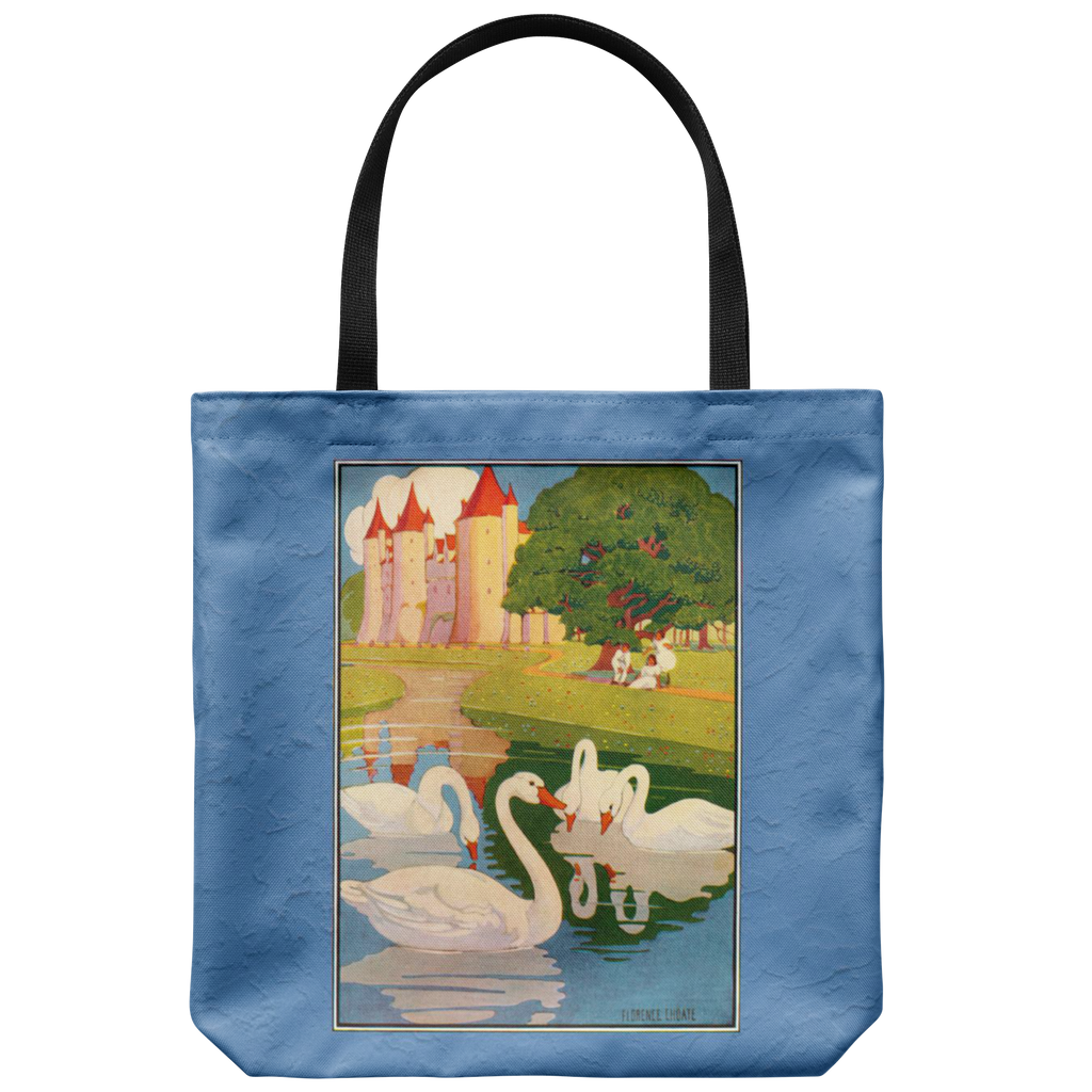 "Swan tote bag with a scene from the classic book, ""The Ugly Duckling"""