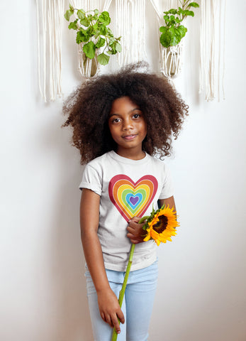 Rainbow heart retro-style graphic on a kids' premium T-shirt