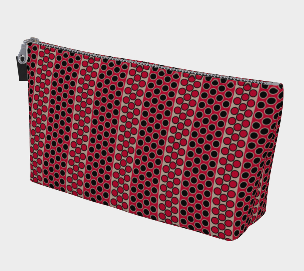 Margaux French dots pattern cosmetics/accessories bags in magenta & black