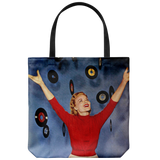 Tote bag with vintage '50s woman and 45-RPM single records all over