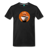 Coffee lover's T-shirt: Cute vintage man with a HUGE cup of coffee