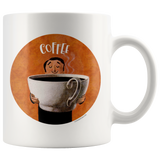 Mugs for coffee lovers! 11-ounce mugs featuring retro graphic illustrations of people with huge cups