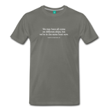 Different ships on dark on a premium unisex T-shirt - asphalt gray