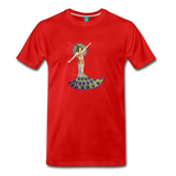 Peacock woman on a premium unisex T-shirt - red