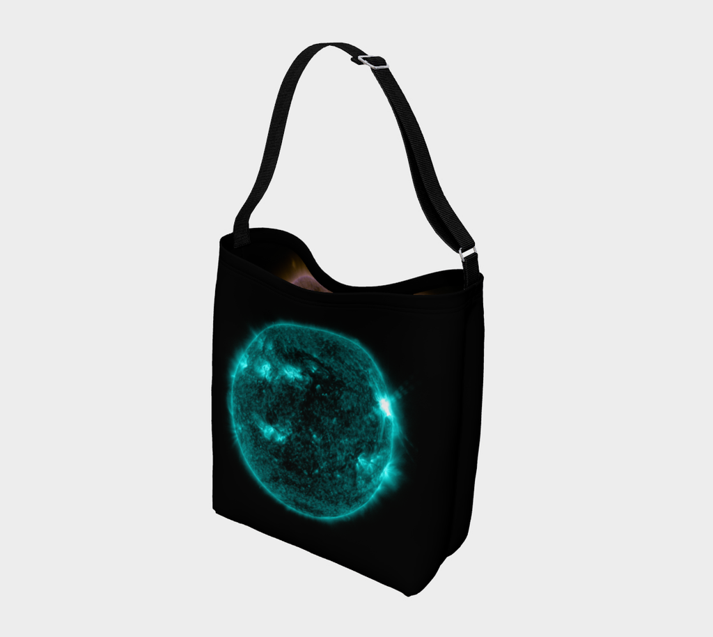 Space bag! The sun's amazing solar flares wake up this double-sided neoprene tote bag