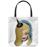 Tote bag with a stylized vintage witch