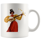 Woman with a banjo - Mug with art from 1896