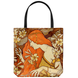 Tote bag with gorgeous vintage artwork of a woman with flowers from 1900