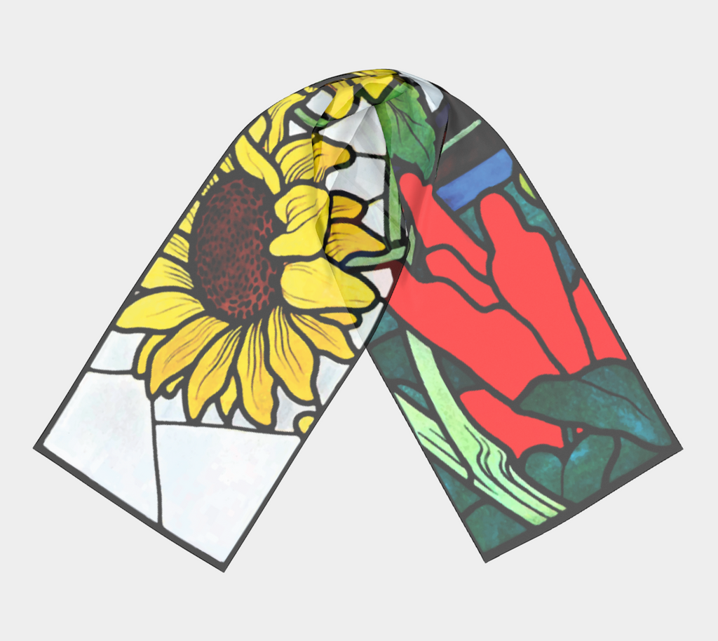 Vintage sunflower design from 1912 on a long scarf