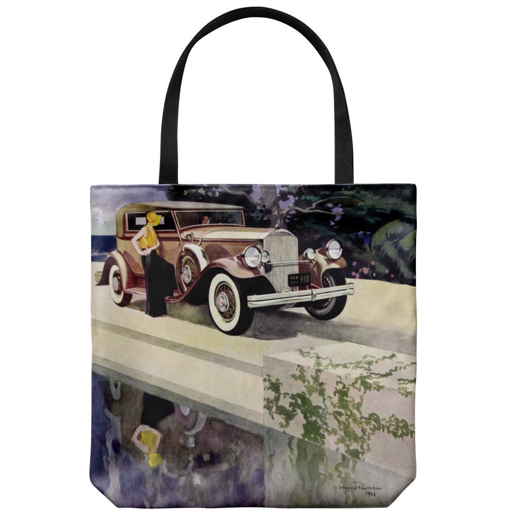 Classic car tote bag with a graphic of a Pierce Arrow convertible sedan from 1931