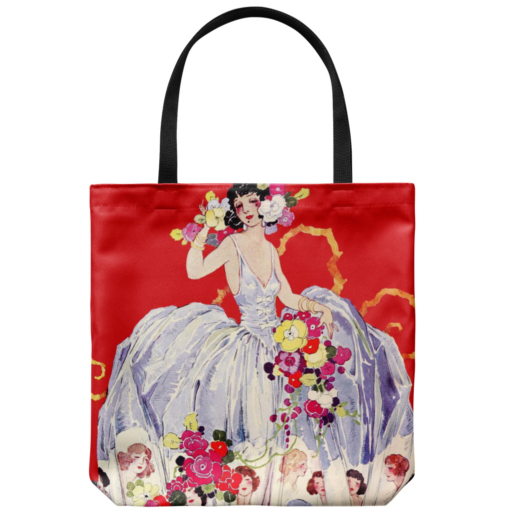 Tote bags with woman in a ball gown from the '20s - 5 colors available