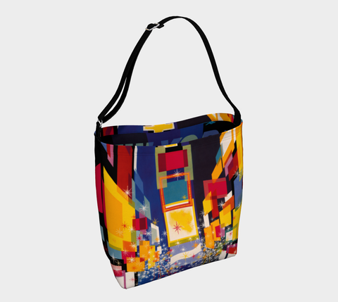 Times Square New York abstract art on a roomy neoprene tote bag