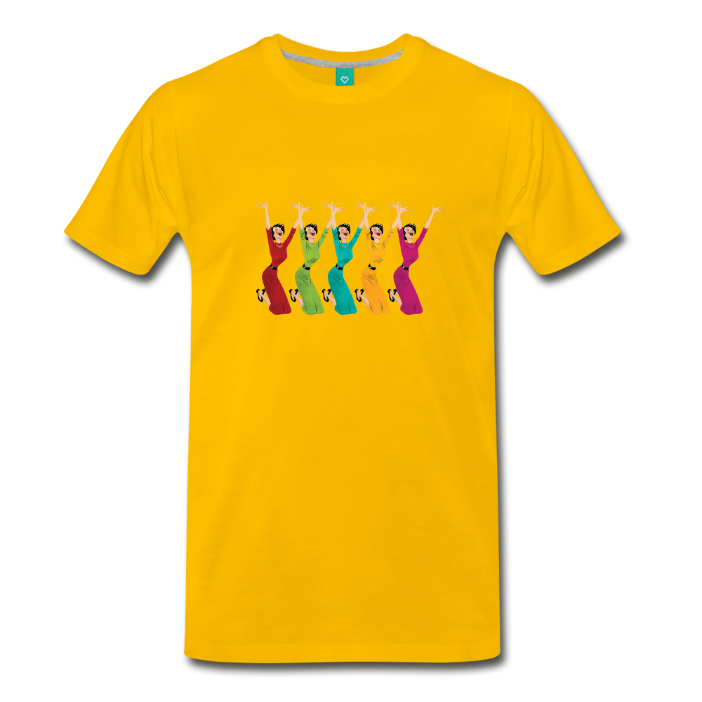 Happy '50s women jumping on a premium unisex T-shirt - sun yellow