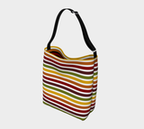 Marrakesh pattern retro '70s-style stripe neoprene day tote bag - Wide stripes, light exterior, dark interior