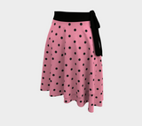 Retro 50s-style wrap skirt - pink with black