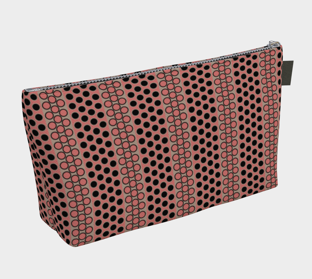 Margaux French dots pattern cosmetics/accessories bags in black & rose