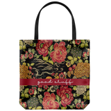 Good stuff tote bag with vintage flower fabric design from 1910