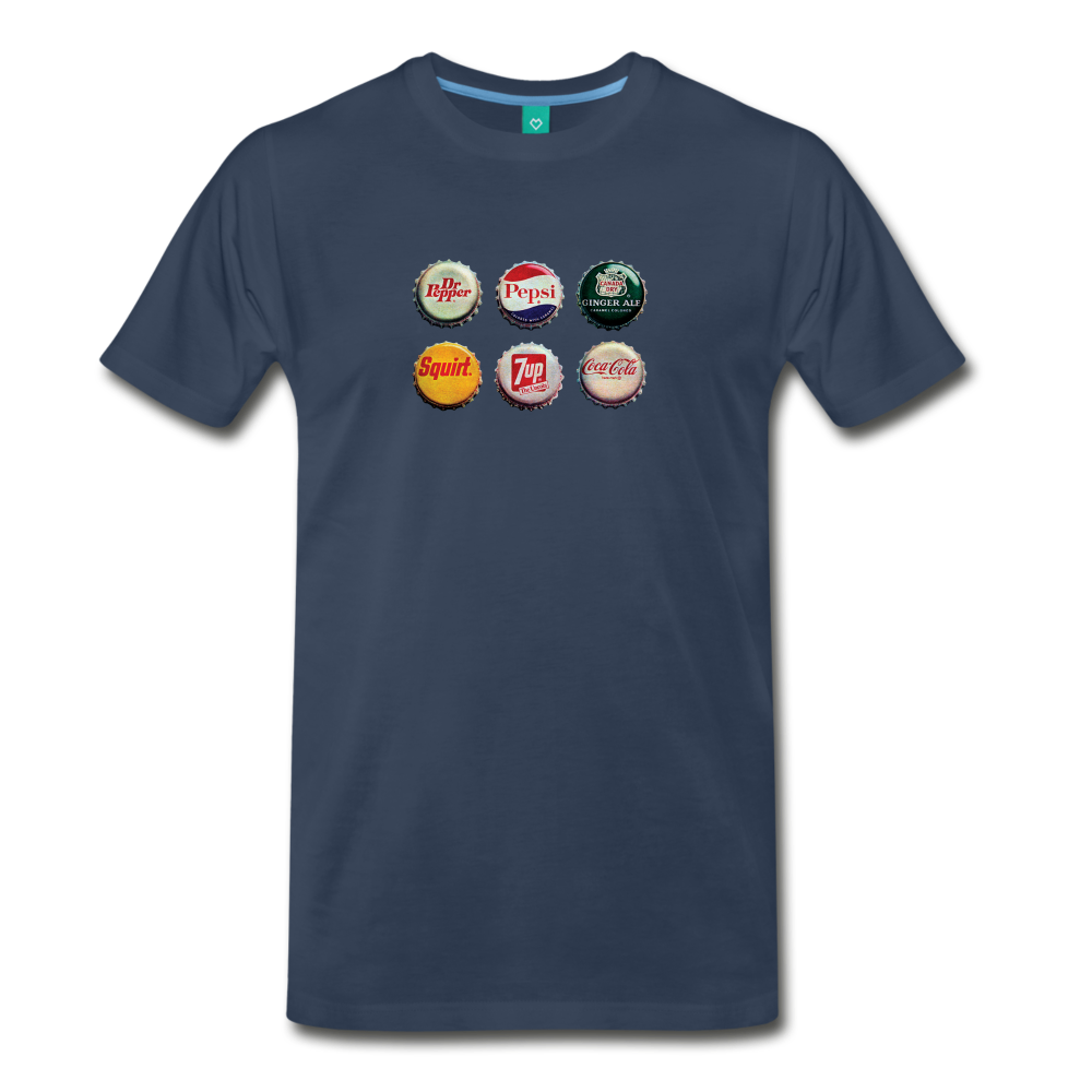 Bottle caps on a premium unisex T-shirt - navy