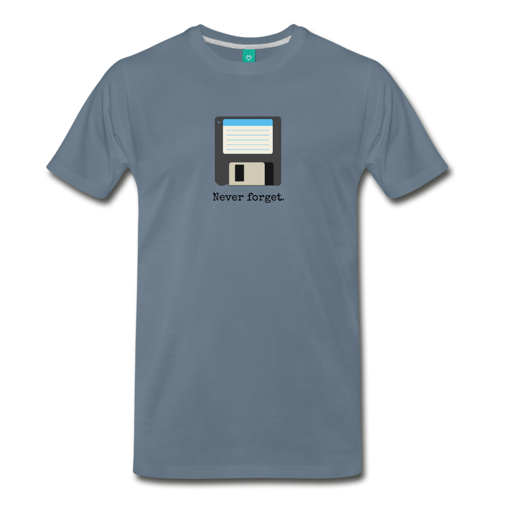 Forget disk on a premium unisex T-shirt - steel blue