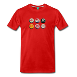 Bottle caps on a premium unisex T-shirt - red