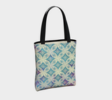Morgan tote bag: Cream-colored traditional pattern overlaid on a pastel tie-dye gradient