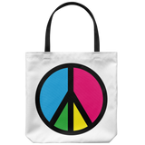 Retro peace sign tote bags - 5 bright color options
