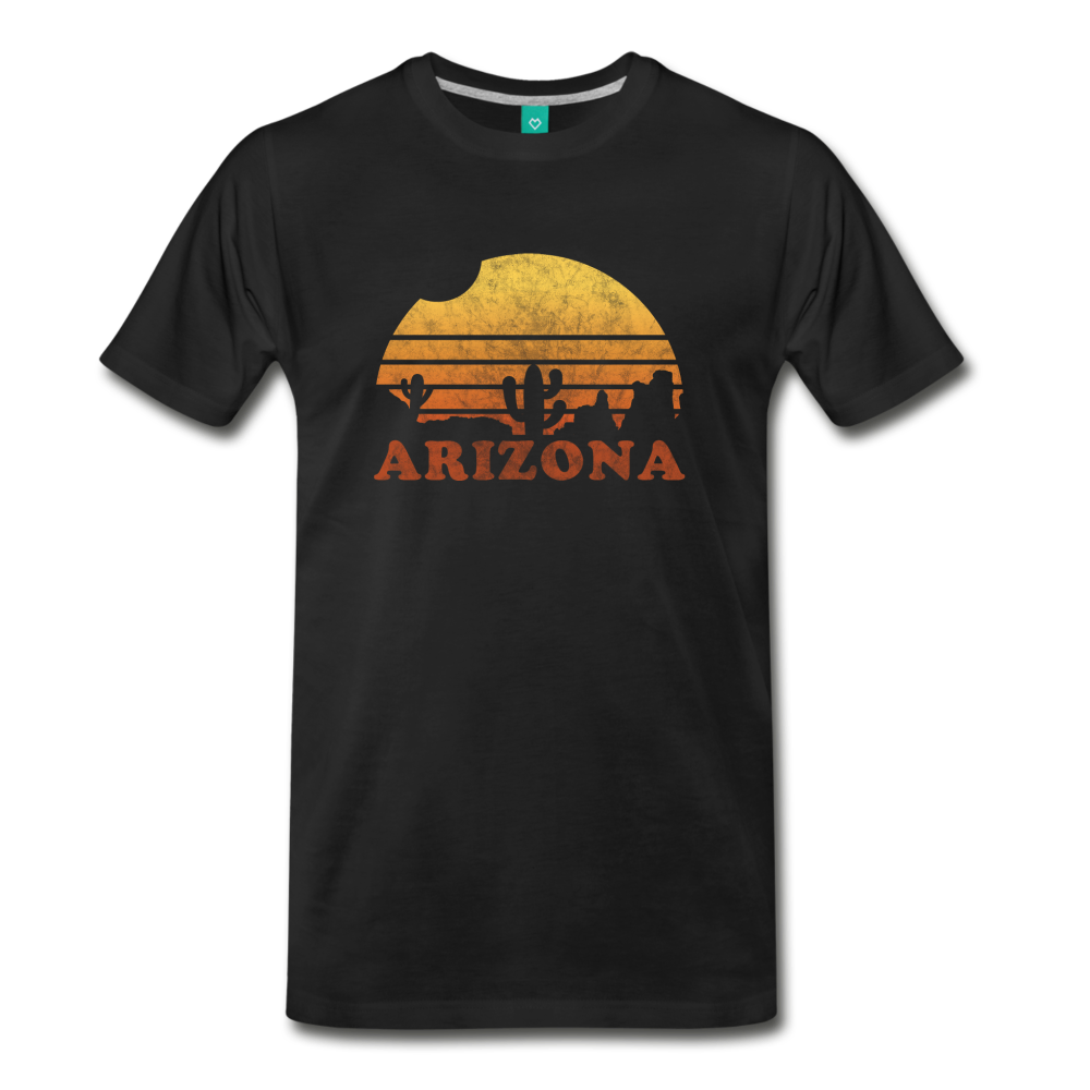 ARIZONA state T-shirt: Vintage-style distressed graphic on a premium unisex shirt - black