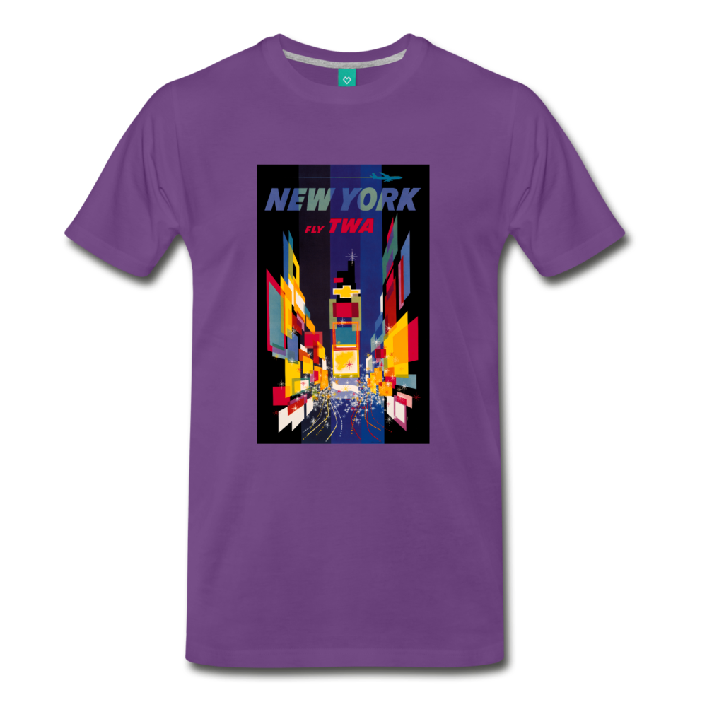 Times Square in New York City - Abstract vintage art on a on a premium unisex T-shirt - purple