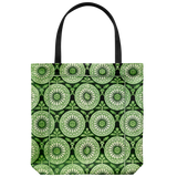 Tote bags with an antique brocaded velvet sunbursts pattern - 4 color schemes available